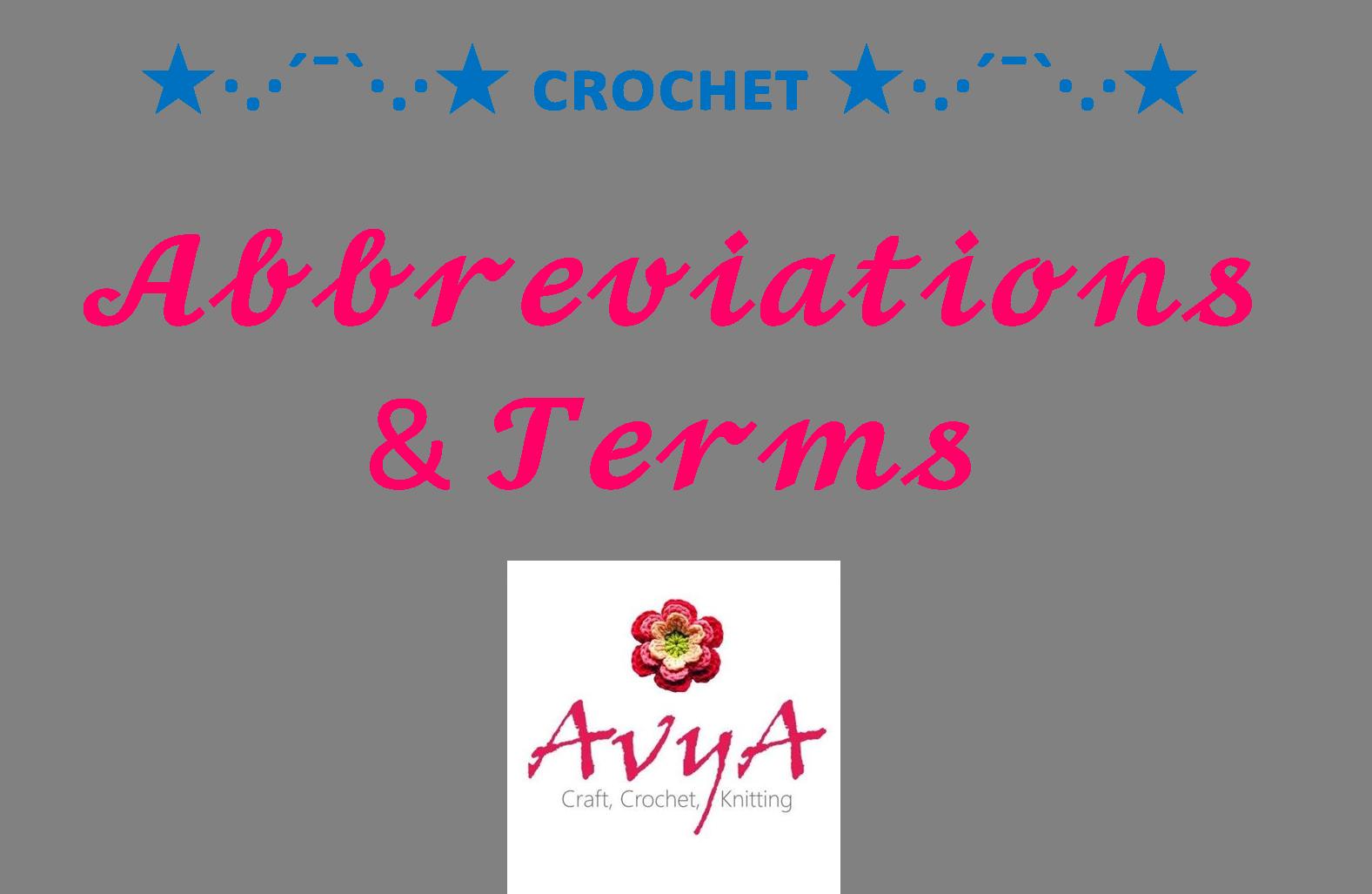 Crochet Abbreviaions_Avya