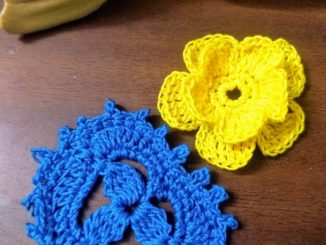 Crochet Wedding Boutonniere Flower, Leaf Motif