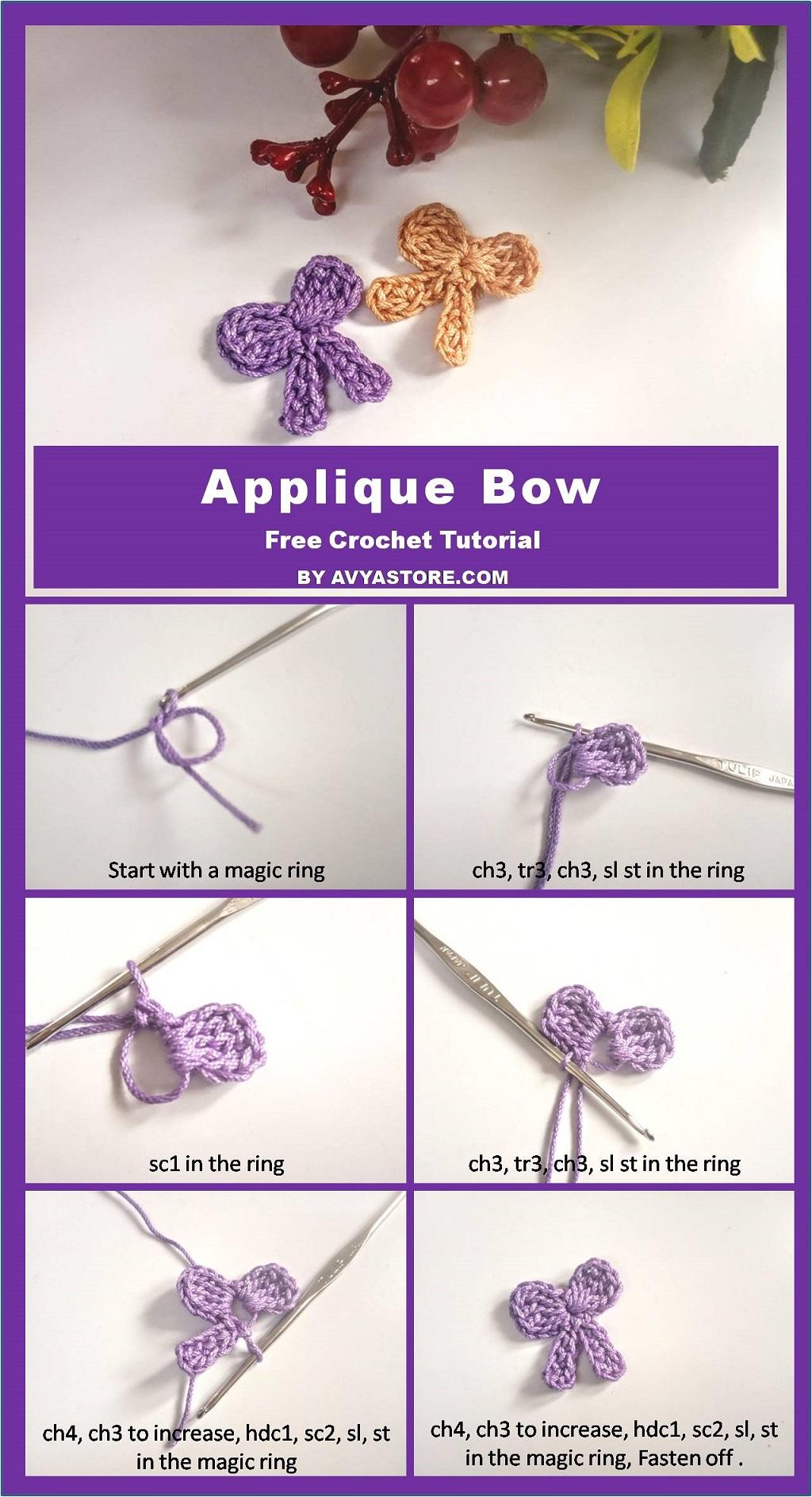 Applique Bow – Free Crochet Tutorial