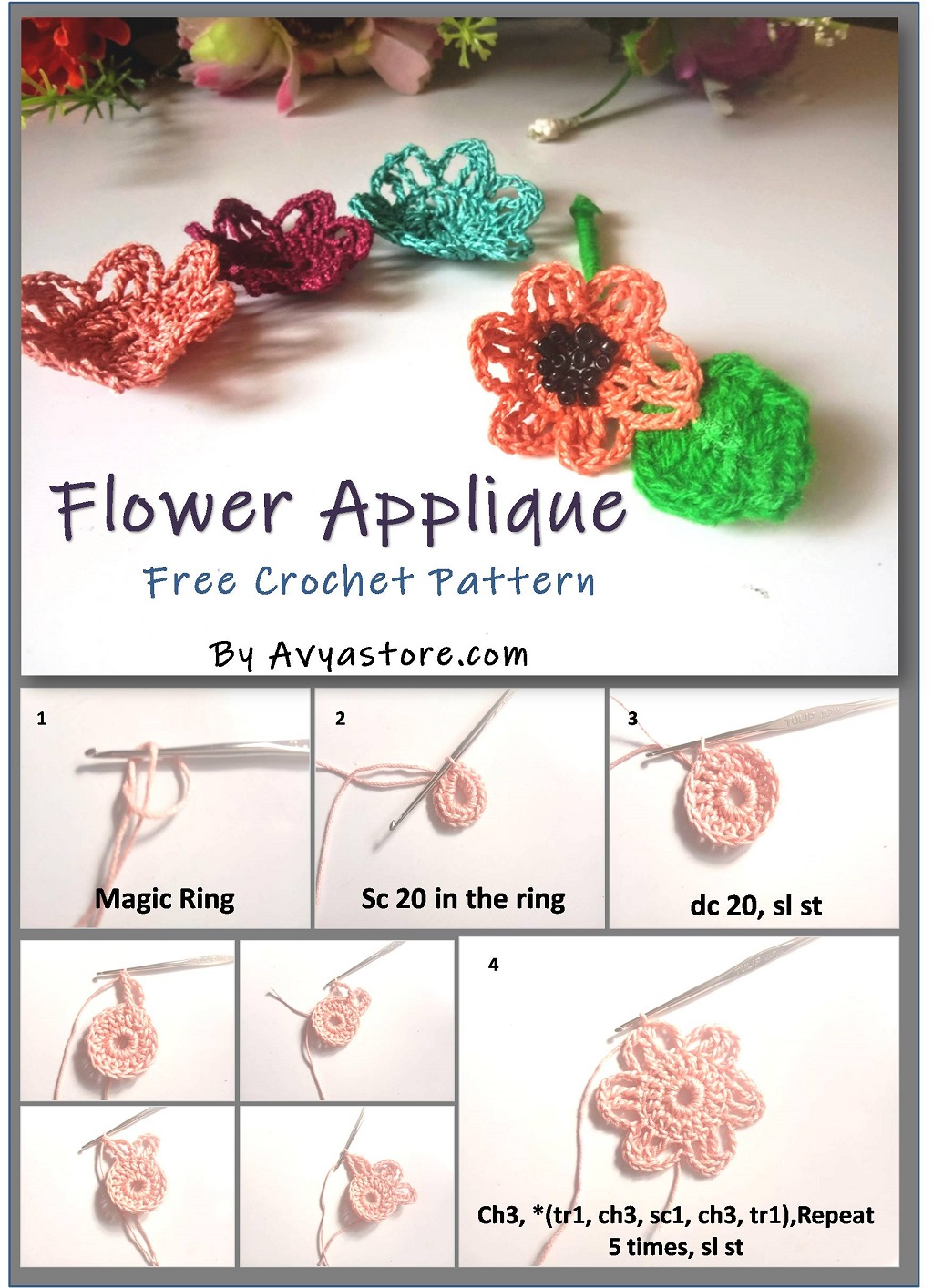Flower Applique – Free Crochet Pattern & Instructions