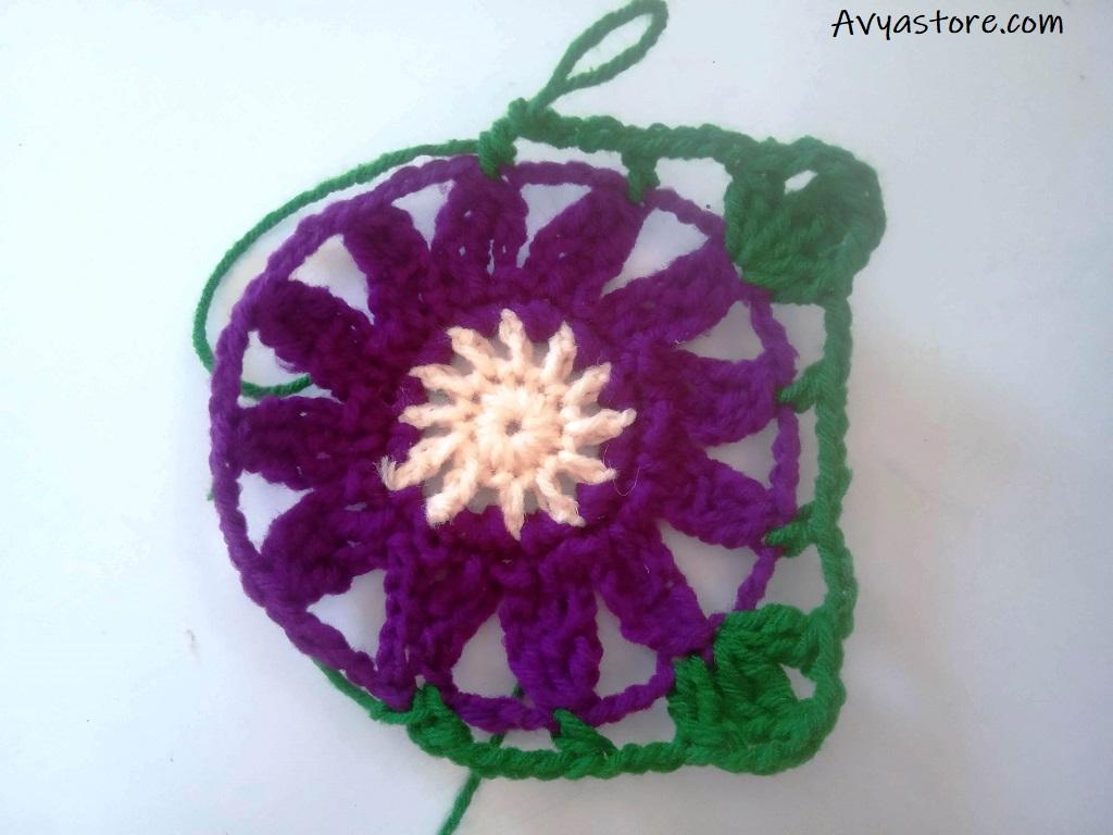 Cineraria Granny Square – Crochet Free Pattern (18)