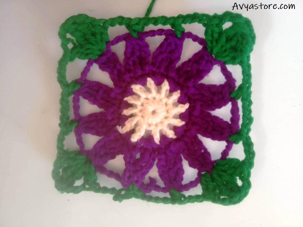 Cineraria Granny Square – Crochet Free Pattern (19)