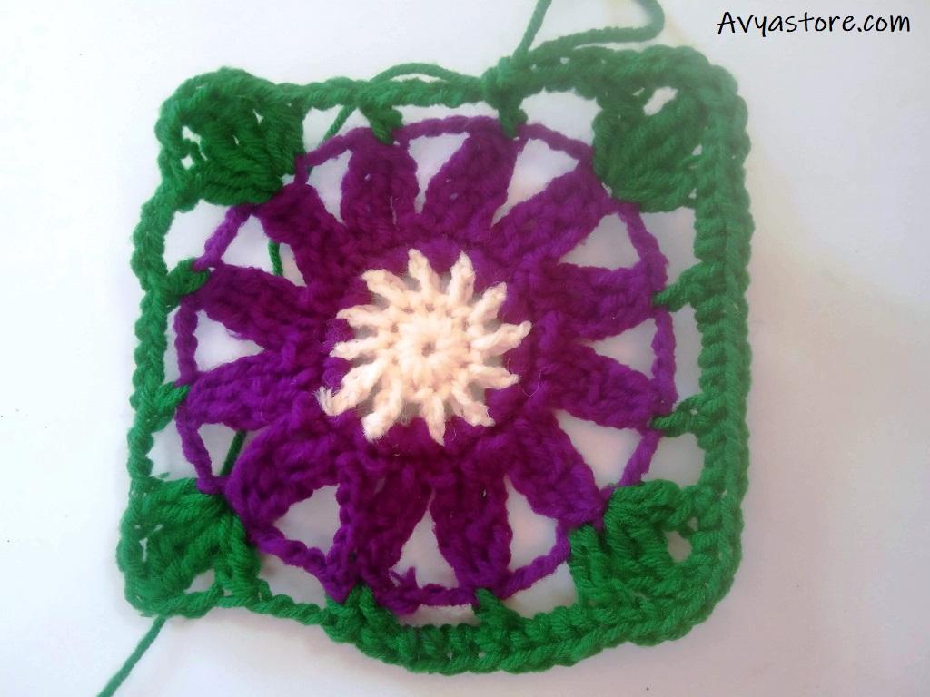 Cineraria Granny Square – Crochet Free Pattern (21)