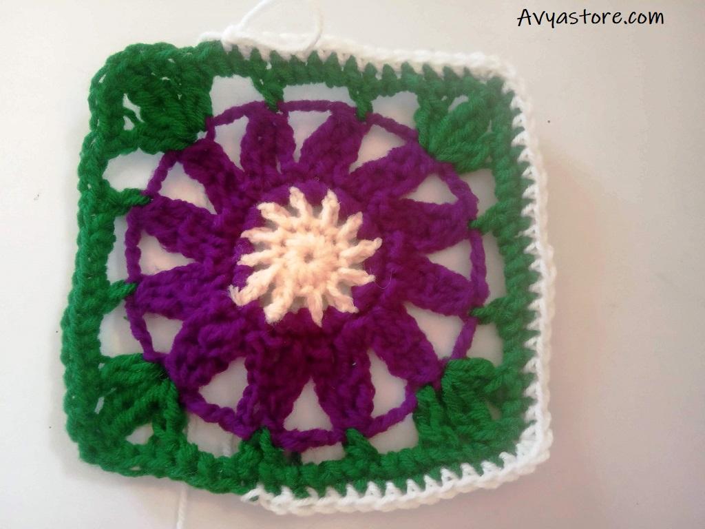 Cineraria Granny Square – Crochet Free Pattern (25)
