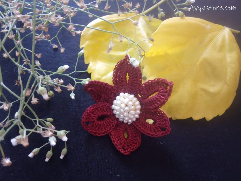 Crochet Flower Brooch -Free Pattern (1)