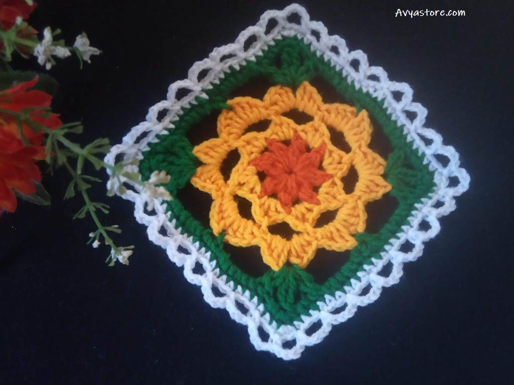 How to crochet a plum blossom granny square (1)