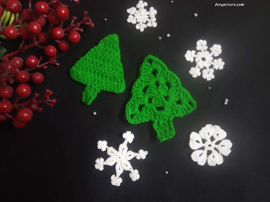 How to crochet an Applique Christmas Tree (26)