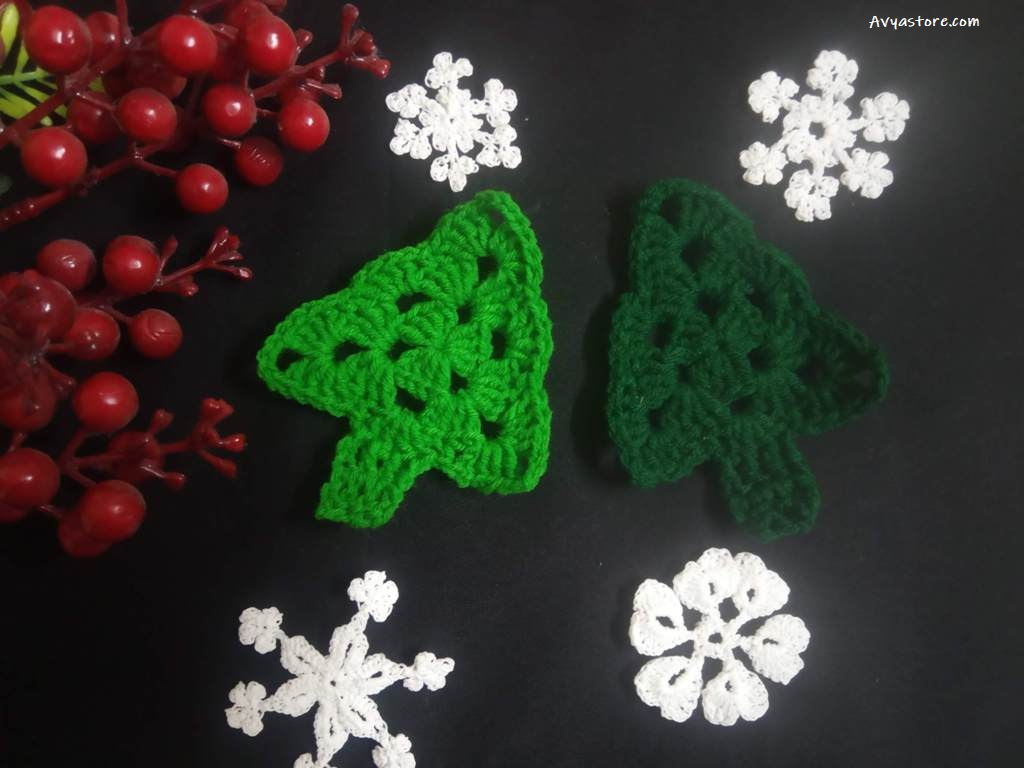 How to crochet an Applique Christmas Tree - Free Pattern