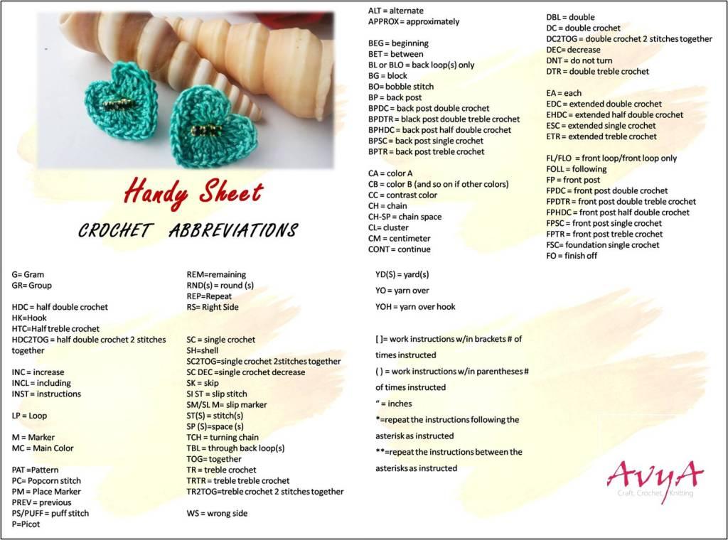 Handy Sheet – Crochet Abbreviation Free Printable